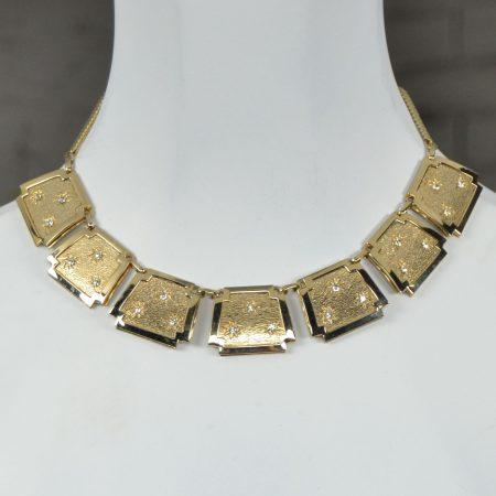Leru Vintage Goldtone, Rhinestone Necklace Bracelet and Earrings Parure Set