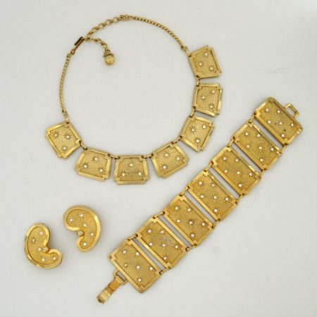 Leru Vintage Goldtone, Rhinestone Necklace Bracelet and Earrings Parure Set