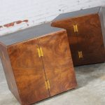 Mid-Century Modern Lane Rolling Cube Side Tables with Butterfly Joint Design