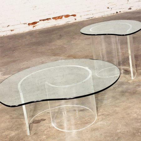 "Vintage Hollywood Regency Lucite ""Snail"" Coffee & Side Tables in style of Vladimir Kagan"