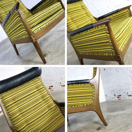 Mid Century Modern Horn Style Armchair with Green Gold & Black Horizontal Striped UpholsteryMid Century Modern Horn Style Armchair with Green Gold & Black Horizontal Striped Upholstery