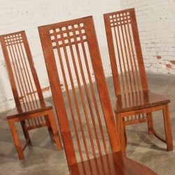 Vintage Mackintosh Style High Back Teak Dining Chairs