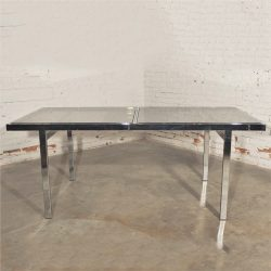 Milo Baughman Expandable Dining Table Chrome and Smoked Glass