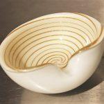 Mid-Century Modern Murano White Gold Optic Swirl Venetian Art Glass Bowls