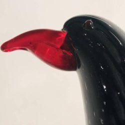 Mid Century Modern Vintage Murano Glass Black Bird with Red Beak