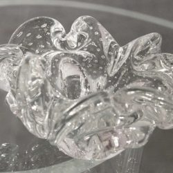Clear Murano Art Glass Flower Bowl with Controlled Bubble Design