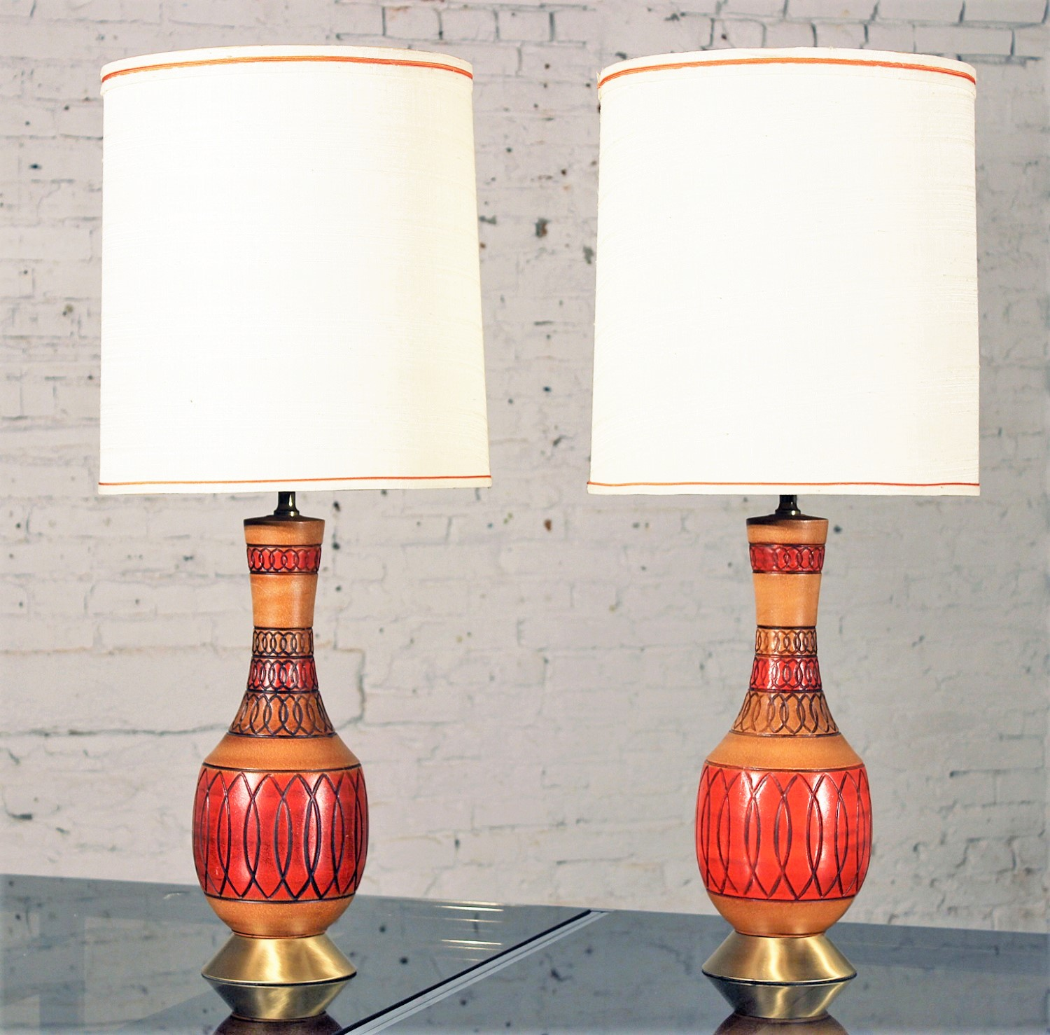 Vintage Royal Haeger Style Red Orange Ceramic Table Lamps