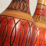 Vintage Royal Haeger Style Red Orange Ceramic Table Lamps – a Pair