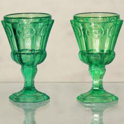 Russian Hexagonal Green Glass Water Goblets