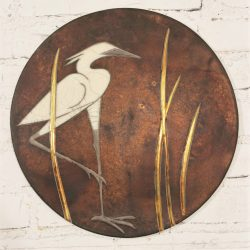 Round Raku Plaque with Egret and Grasses Design