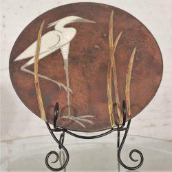 Round Raku Plaque with Egret and Grasses Design