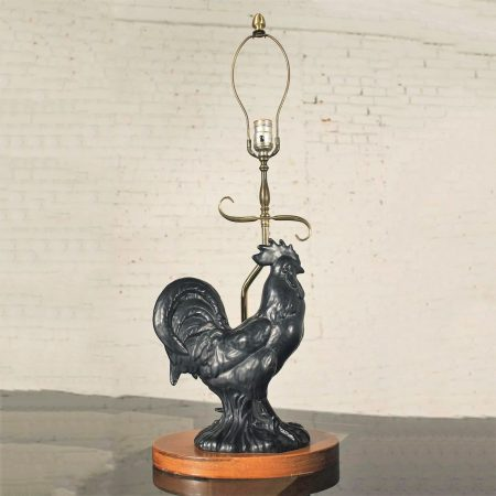 Vintage Mid Century Black Ceramic Rooster Table Lamp