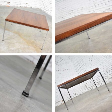 Mid Century Modern Chrome & Walnut End or Coffee Table in the Style of Florence Knoll