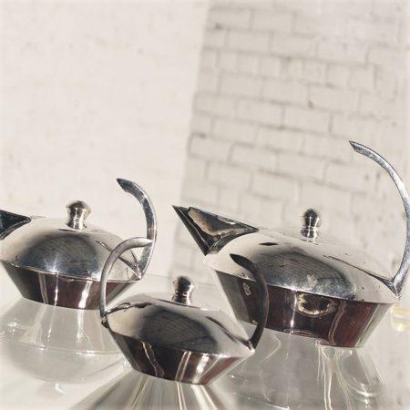 Vintage Escapade by Paris Art Deco Style Silver Plate Four-Piece Tea Service