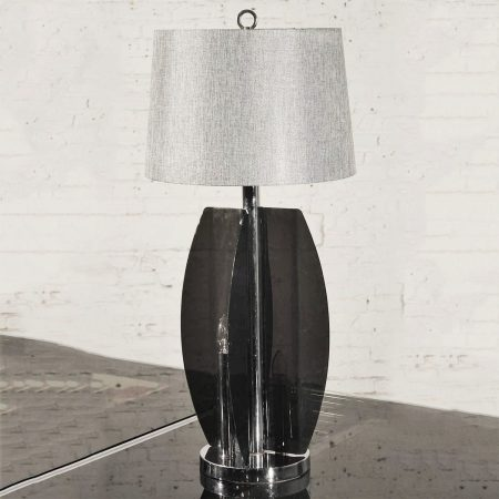 Mid-Century Modern Smoke Gray/Grey Lucite and Chrome Table Lamp