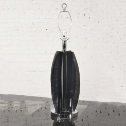 SL-Mid-Century Modern Smoke Gray/Grey Lucite and Chrome Table Lamp