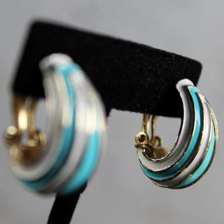 Vintage Crown Trifari Enamel Hinged Bracelet and Clip Earrings Demi Parure Set