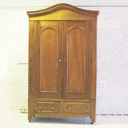 Antique Walnut Bonnet Top Armoire Wardrobe