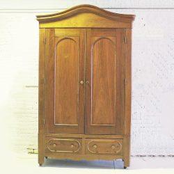 Antique Walnut Bonnet Top Armoire Wardrobe