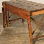 Primitive Industrial Farmhouse Style Dining Table Workbench with Wood Vise Leg
