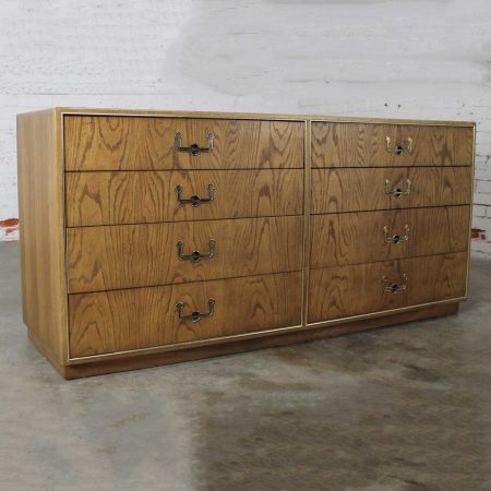 Vintage Mid-Century Campaign Style Eight Drawer Dresser by Founders Furniture in Oak