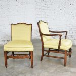 Pair of Georgian Revival His and Hers Accent Chairs in Golden Yellow