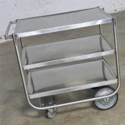 Industrial Three Tier Stainless Steel Rolling Cart Vintage