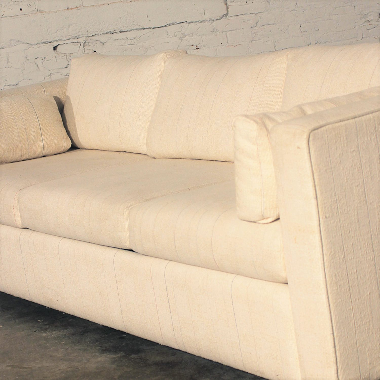 Mid Century Modern White Tuxedo Style Sleeper Sofa
