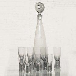 Mid Century Aristokrat Decanter by Per Lutken for Holmegaard & 8 Canada Glasses