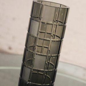 Vintage Smoke Grey Glass Cylindrical Vase, Orrefors Legend Square Style
