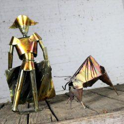 Brutalist Torch Cut Metal Bull and Matador Sculpture Mid Century Modern