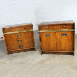 SL-Hickory Manufacturing Co. Campaign Style Chests a Vintage Pair