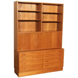 Danish Teak Bookcase Desk Secretary Designed by Poul Hundevad