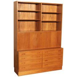Danish Teak Bookcase Desk Secretary Designed by Poul Hundevad
