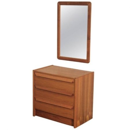 Danish Mid-Century Modern Small Chest of Drawers with Mirror