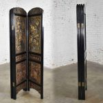 Vintage Asian Hand Carved 4 Panel Folding Screen or Room Divider Lacquered & Gilded
