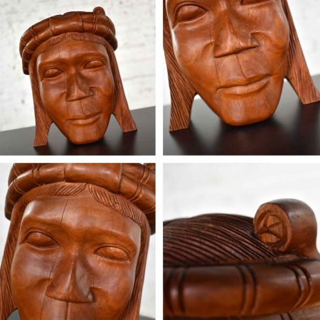 Vintage Tribal Carved Wood Figural Bookends Heads Only
