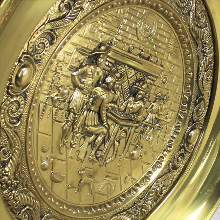 Monumental Brassware Decorative Embossed English Wall Plates by Peerage
