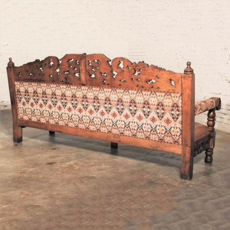 Hacienda-Style Spanish or Mexican Carved Pine and Upholstered Vintage Bench Sofa