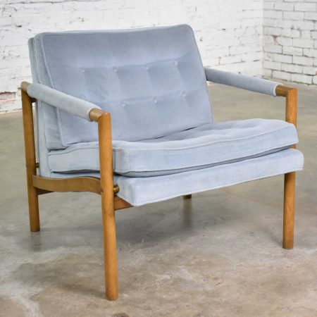 Mid Century Modern Lounge Club Chair with Wood Frame and Ice Blue Velvet