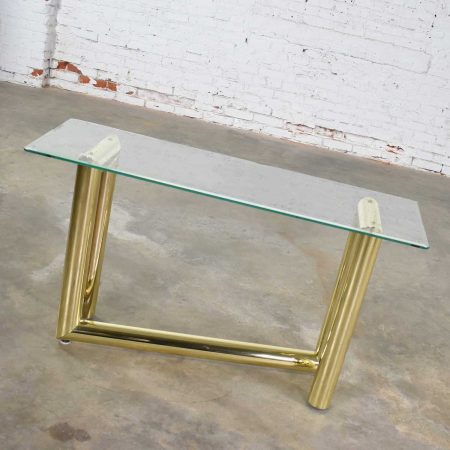 Vintage 1970s Modern Brass Plate Console Sofa Table with Glass Top After Karl Springer