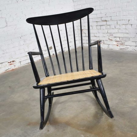Mid Century Scandinavian Modern Style Spindle Back Rocking Chair Black with Cane Seat