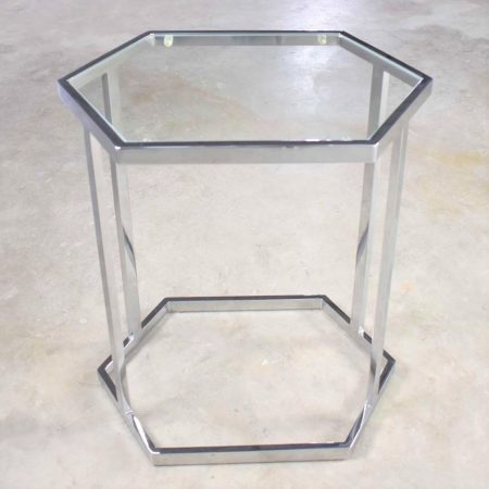 Vintage Modern Chrome and Glass Hexagon Petite Side Table or Occasional Table