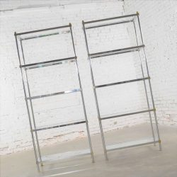 Pair of Vintage Etagere Display Shelves in Chrome and Brass, Manner of Maison Jansen
