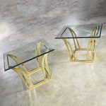 Pair of Modern Flared Shape End Tables of Brass Plated Steel with Glass Tops