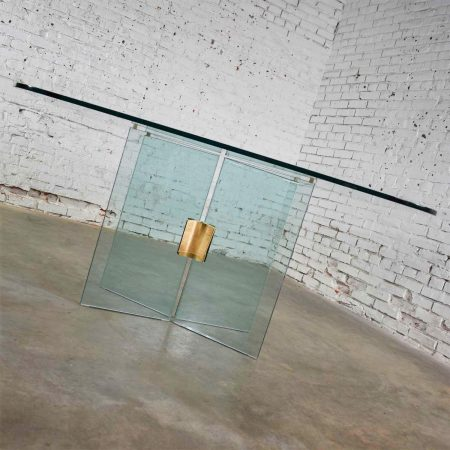 All Glass Dining Table with Brass Plated Connector Attributed to The Pace Collection