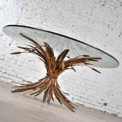 HOLD – Gilt Metal Sheaf of Wheat Coffee Table with Glass Top Vintage Italian Hollywood Regency