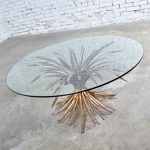 Gilt Metal Sheaf of Wheat Coffee Table with Glass Top Vintage Italian Hollywood Regency