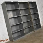 Trio of Industrial Steel Bookcase Shelving Painted Gray – Green Great Patina Vintage