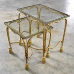 Set of Two Hollywood Regency Gilt Rope and Tassel Nesting Tables with Glass Tops